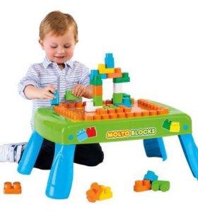 Игровой столик с конструктором. Салатовый/розовый