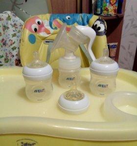 Молокоотсос ручной AVENT +2 бутылочки