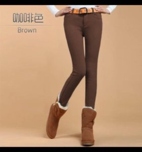 Новые брюки на флисе утеплённые джинсы