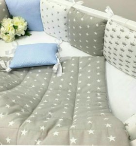 Комплекты в кроватку! Бортики! Одеяло! Простынь!