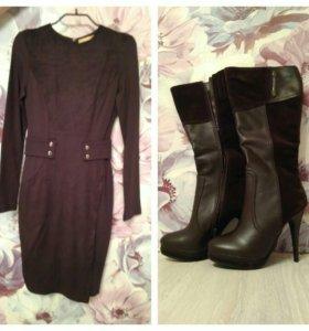 Платье, новое, xs+сапожки