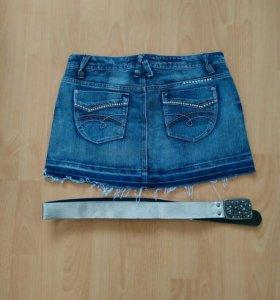 Юбка джинсовая с ремнем, новая.