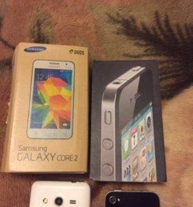 iPhone 4 + Samsung Galaxy core 3 duos
