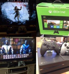 Xbox One с 2 джойстиками и играми