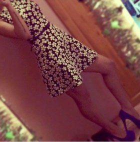 Платье в цветок плотное