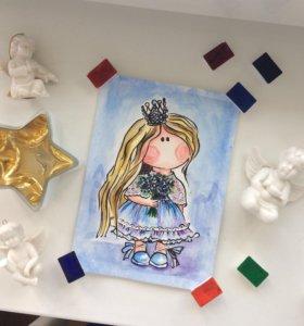 """""""Принцесса"""" Рисунок акварелью"""