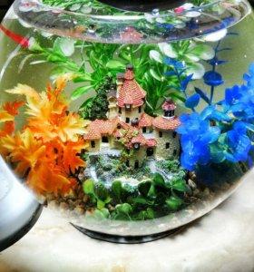 Аквариум шар 8 литров с декором и петушком