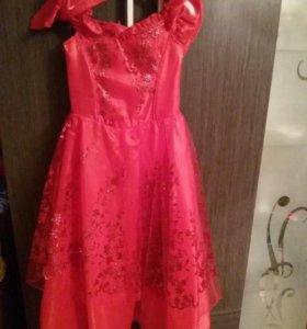 Платье и перчатки размер 146