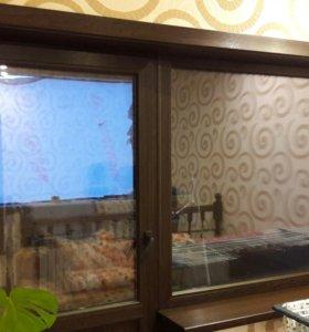 Окно + дверь ПВХ венге