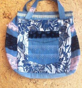 Новая сумка - джинс , гобелен, шитье