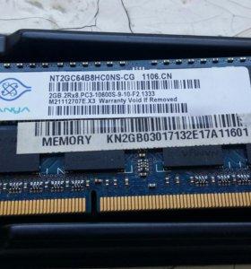 Оперативка для ноутбука DDR 3. На 2 гб