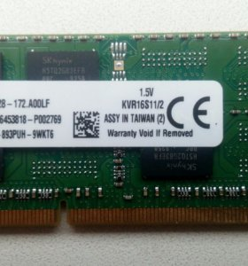 Kingston KVR16S11/2 DDR3 2gb 1600 So-Dimm