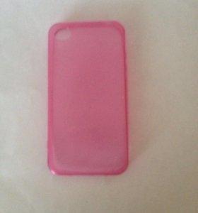 Чехол на айфон 4\4s, прозрачно-розовый.