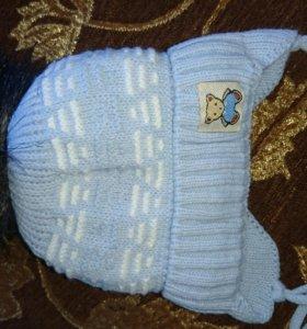 Шапочка зимняя для новорожденого новая