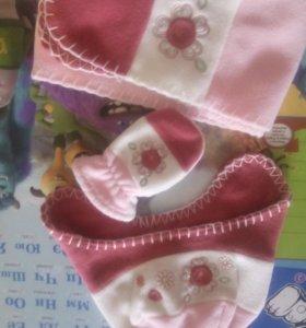 Шапочка варежки шарф
