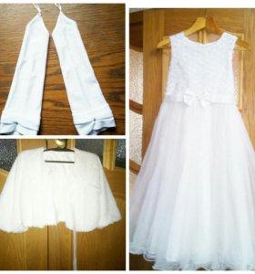 Комплект (Платье, болеро, перчатки)