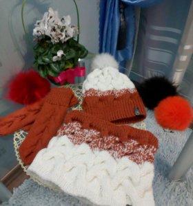 Hand made шапка, снуд и варежки
