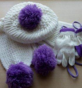Шапка+ шарф+ перчатки