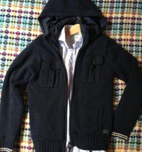 Мужская вязаная куртка gant синяя размер s