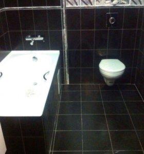 Укладка кафельной плитки , ремонт ванны и туалета