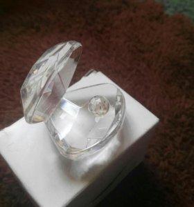 Стеклянная раковина с жемчужиной статуэтка декор
