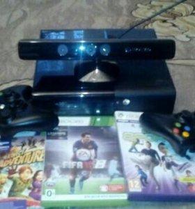 Xbox 360 e 500gb, kinect, 2 беспроводных джойстика