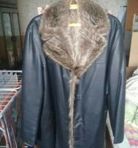 Кожаная куртка натур мех волк размер 56-58