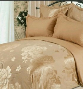 Однотонное постельное белье Шелк Хлопок Евро