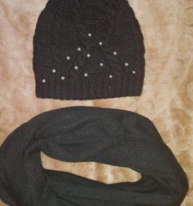 Шапка+снуд (шарф)