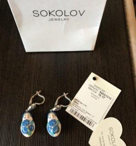 Серьги из серебра Sokolov