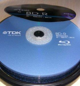 Blu-ray BD-R диски 10 шт, упаковка