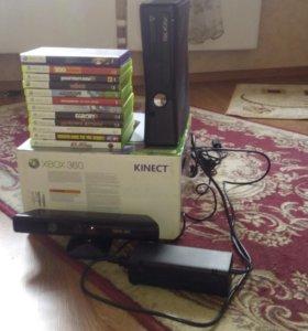 xbox360 slim + kinect + куча игр.