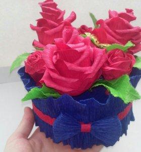Цветочки из гофрированной бумаги🌷🌷🌷