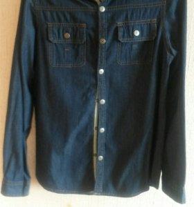 Рубашка джинсовая с капюшоном