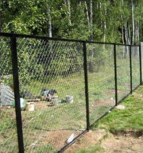 Секционный Забор из сетки рабицы.