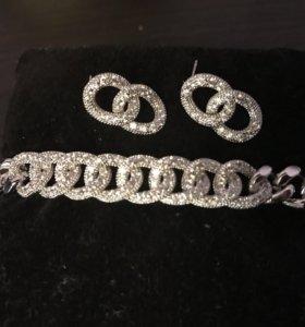 Шикарный браслет и серьги