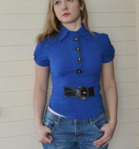 Рубашка синяя женская