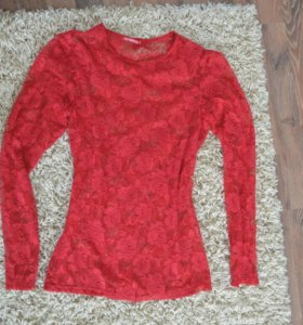 Кофта блуза красная ажурная