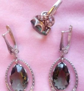Серебро 925 серьги и кольцо