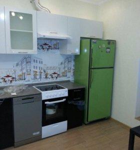 Кухня Валерия Черный Белый Металлик 2.4 м