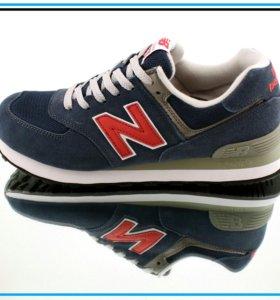 """Кроссовки New Balance 574 синие с красной """"N"""""""