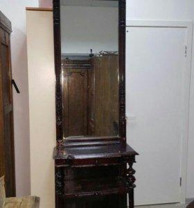 Старинное зеркало (трюмо, трельяж) с подставкой