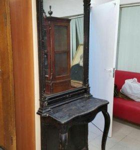 Старинное зеркало с подставкой (трюмо, трельяж)