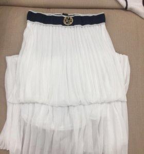 Белая юбка в пол