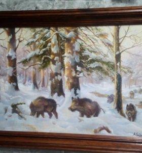 "Картина ""Кабаны в зимнем лесу"""