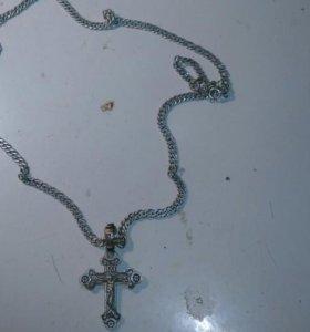 Серебряная цепь,крест