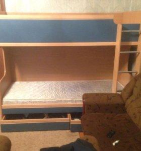 Кровать двухъярусная синяя