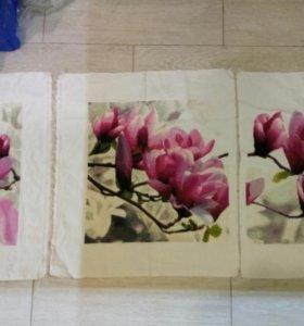 Вышивка Цветы из 3 частей