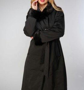 Зимние пальто на меху кролика, украшенное норкой