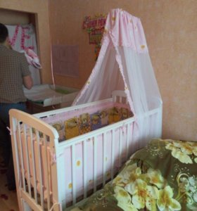 Кроватка детская соня, маятник+ балдахин+ бортик